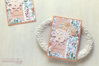 キュートなオレンジ色でダイカットのパーツをはめ込んだ、ブーケのカード