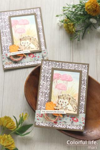 つぶらな瞳にキュ~ン、ハリネズミちゃんの色塗りカード(縦:ウォーク・イン・ザ・ウッズ/スタンピンアップ)