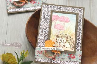 つぶらな瞳にキュ~ン、ハリネズミちゃんの色塗りカード(アップ:ウォーク・イン・ザ・ウッズ/スタンピンアップ)