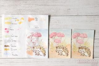 つぶらな瞳にキュ~ン、ハリネズミちゃんの色塗りカード(塗った色)